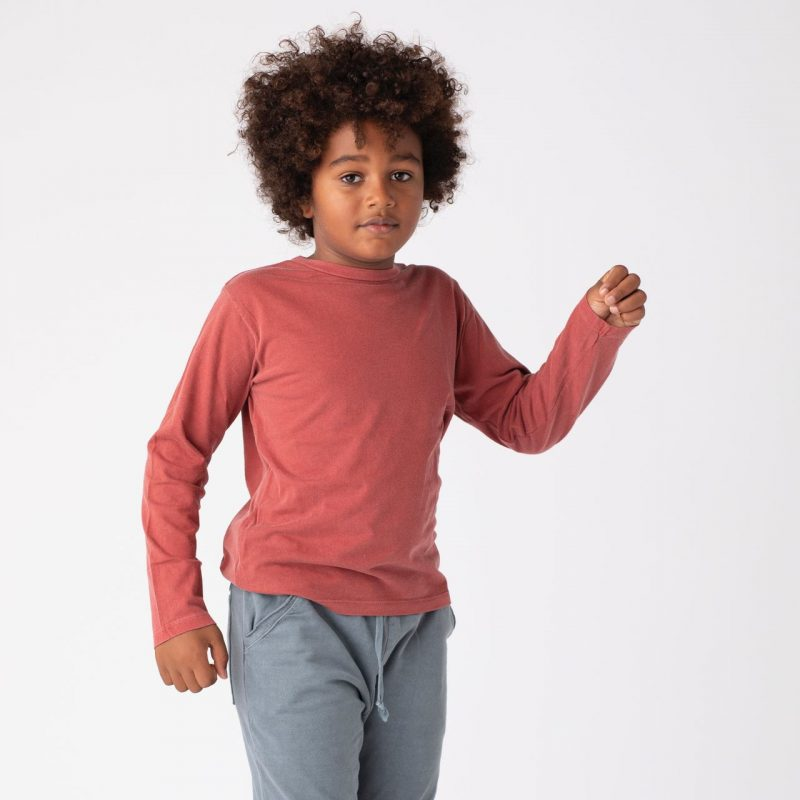 Camiseta básica de niño de color rojo diferente y de algodón.