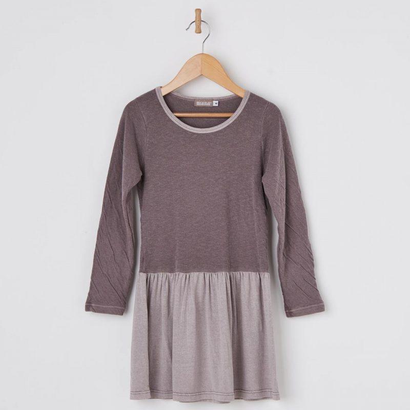 Vestido de bebé y niña color mora hasta 14 años. Vestido de algodón fabricado en España.