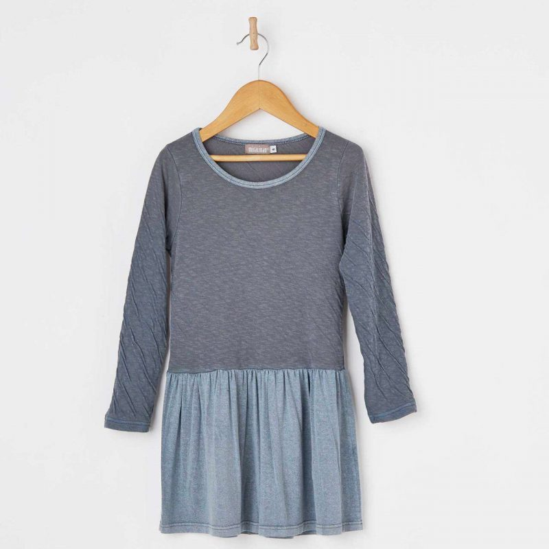 Vestido de bebé y niña color azul gris hasta 14 años. Vestido de algodón fabricado en España.